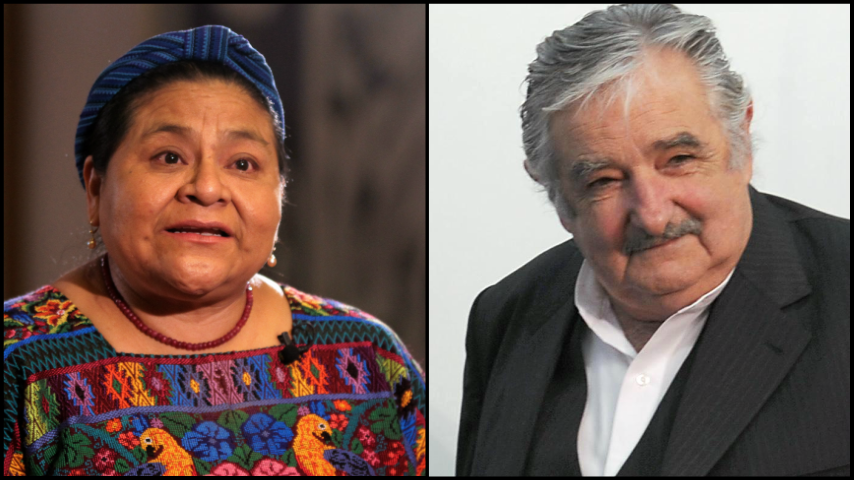 Rigoberta Mencgu y Pepe Mujica